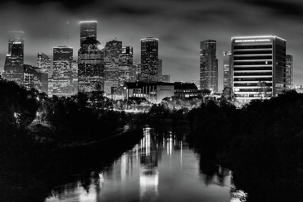 Wall Art - Photograph - The Houston Skyline Black And White by JC Findley