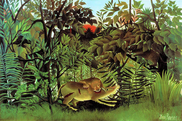 Wall Art - Painting - The Hungry Lion Attacking An Antelope - Digital Remastered Edition by Henri Rousseau