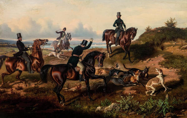 Wall Art - Painting - The Hunt by Theodor Franz Zimmermann