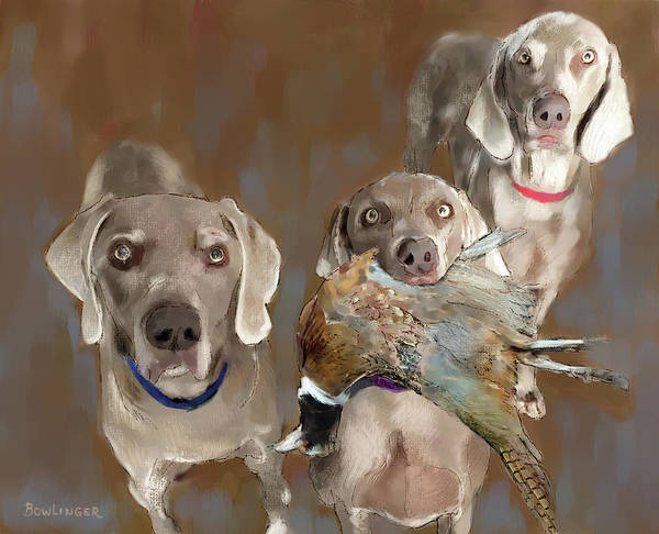 Pheasant Digital Art - The Hunting Dogs by Scott Bowlinger