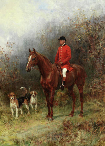 Huntsmen Wall Art - Painting - The Huntsman by Heywood Hardy