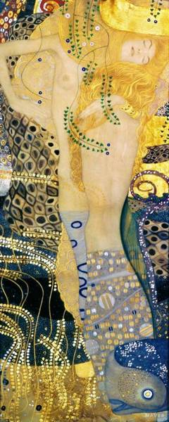 Heart Gold Painting - The Hydra - Digital Remastered Edition by Gustav Klimt