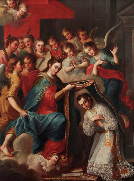 Isla Wall Art - Painting - The Imposition Of The Chasuble To San Ildefonso by Andres de Islas