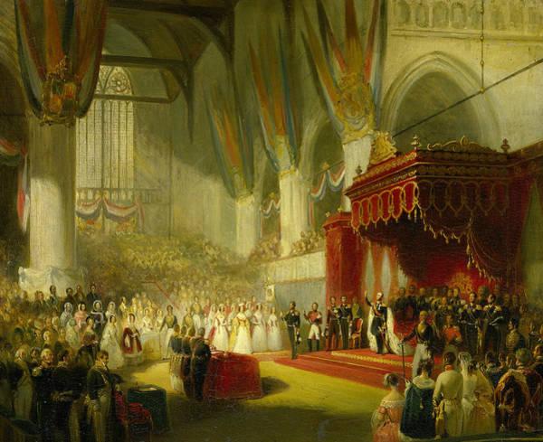 Painting - The Inauguration Of King Willem II In The Nieuwe Kerk In Amsterdam, November 28, 1840 by Nicolaas Pieneman