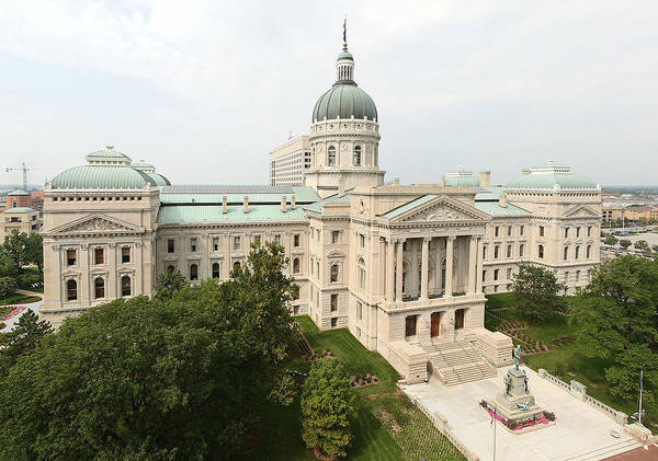 Painting - The Indiana Statehouse In Indianapolis by Celestial Images