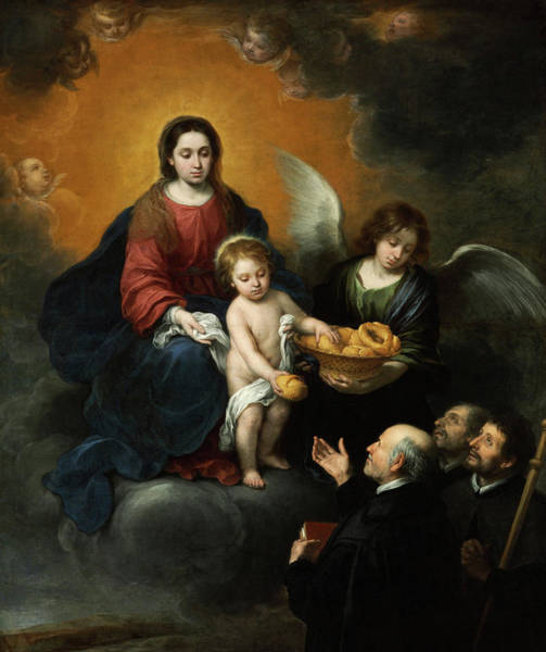 Wall Art - Painting - The Infant Christ Distributing Bread To The Pilgrims, 1678 by Bartolome Esteban Murillo