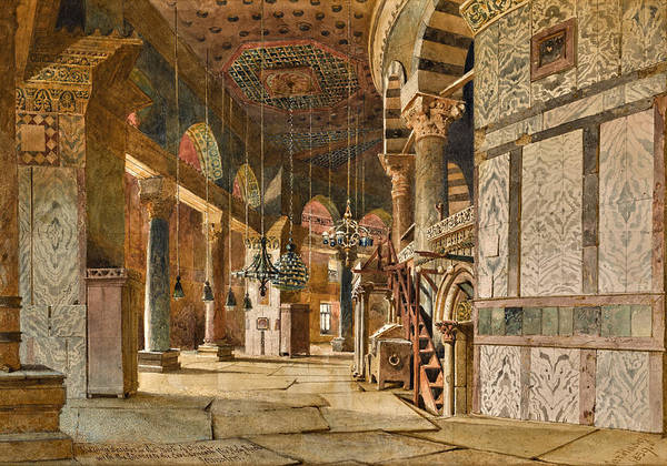 Wall Art - Drawing - The Inner Corridor Of The Dome Of The Rock, Jerusalem by Carl Haag