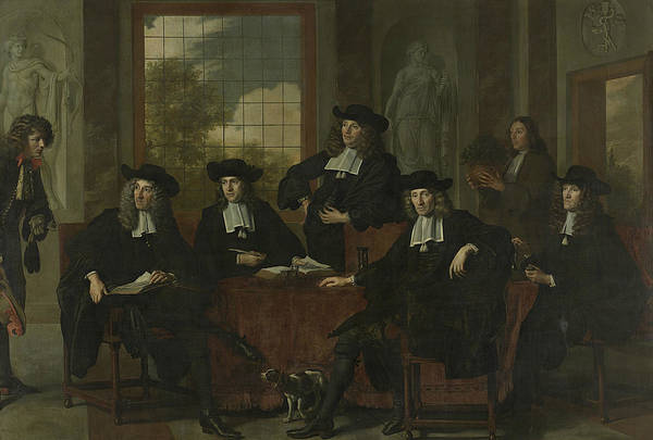 Wall Art - Painting - The Inspectors Of The Collegium Medicum In Amsterdam by Adriaen Backer