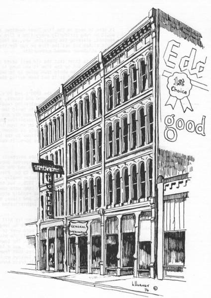 Drawing - The Iron Front Building Helena Montana by Kevin Heaney