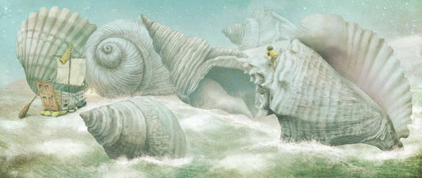 Stars Drawing - The Island Of Giant Shells by Eric Fan