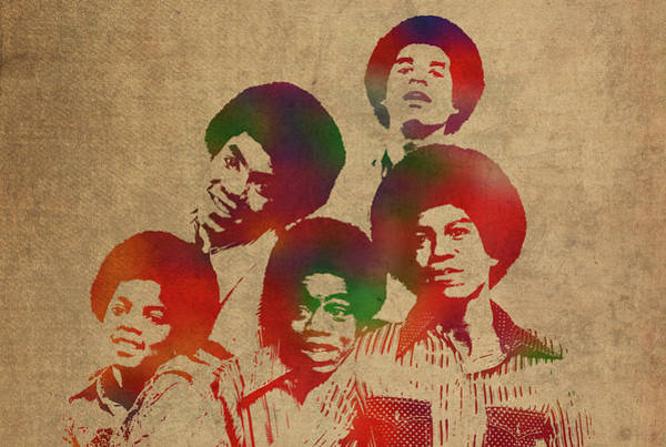 Wall Art - Mixed Media - The Jackson Five Watercolor Portrait by Design Turnpike