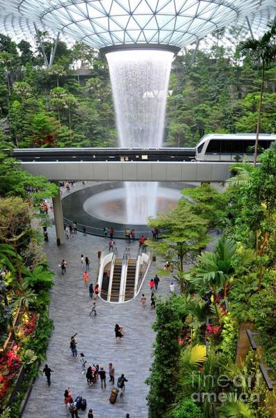 Photograph - The Jewel Waterfall Monorail Gardens And Visitors Changi Airport Singapore  by Imran Ahmed
