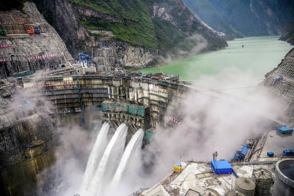 Spillway Photograph - The Jinping First Stage Hydropower Dam by Shan.shihan