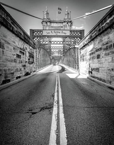 Photograph - The John A. Roebling Bridge - Cincinnati Ohio Black And White by Gregory Ballos