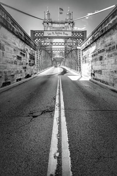 Photograph - The John A. Roebling Bridge - Cincinnati Ohio Monochrome by Gregory Ballos