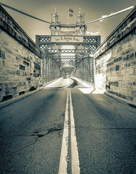 Photograph - The John A. Roebling Bridge In Sepia - Cincinnati Ohio by Gregory Ballos