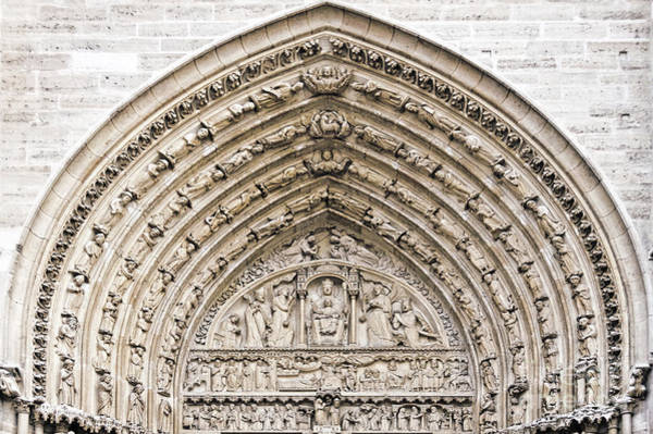 Wall Art - Photograph - The Judgement Portal Of Notre Dame De Paris by Delphimages Photo Creations