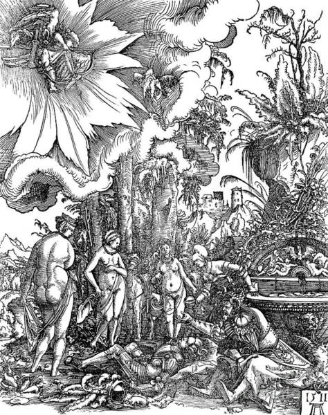 Goddess Drawing - The Judgment Of Paris, 1511 by Albrecht Altdorfer