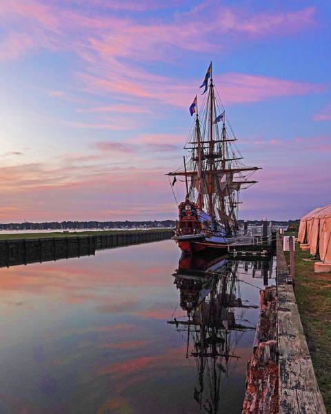 Photograph - The Kalmar Nyckel Docked In Salem Harbor Sunrise Red Sky by Toby McGuire
