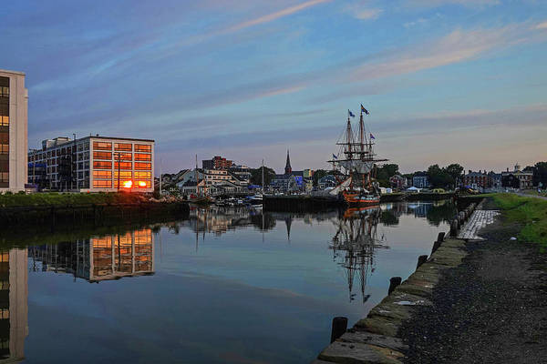 Photograph - The Kalmar Nyckel Docked In Salem Harbor Sunrise Reflection by Toby McGuire