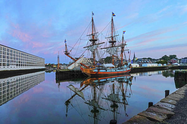 Photograph - The Kalmar Nyckel Docked In Salem Harbor Sunrise by Toby McGuire
