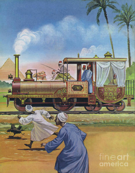 Wall Art - Painting - The Khedive Of Egypt Had An Engine And Carriage Built In England In 1862 by Angus McBride