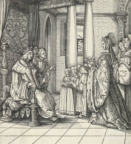 Woodcut Wall Art - Drawing - The King Receiving His Daughter Margaret And The Children Of King Philip by Hans Burgkmair