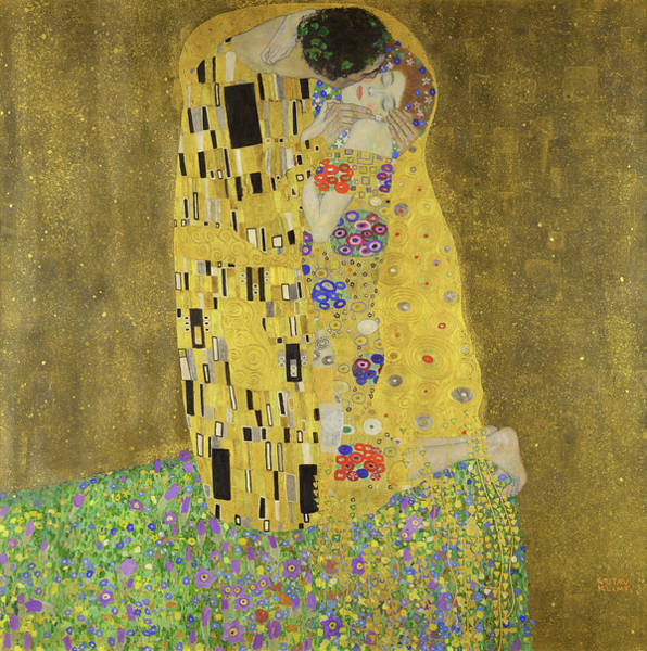 Gustav Klimt Painting - The Kiss, 1908-1909 by Gustav Klimt