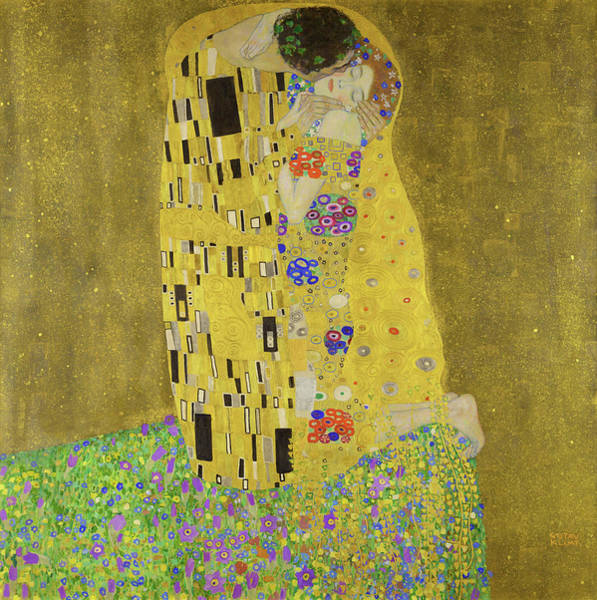 Heart Gold Painting - The Kiss - Digital Remastered Edition by Gustav Klimt