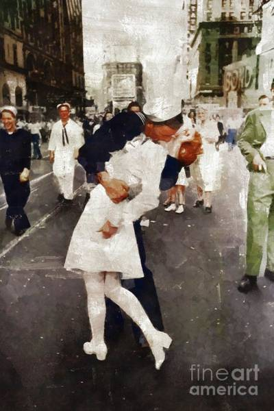 Dday Wall Art - Painting - The Kiss, Victory In Japan Day, Wwii by Mary Bassett