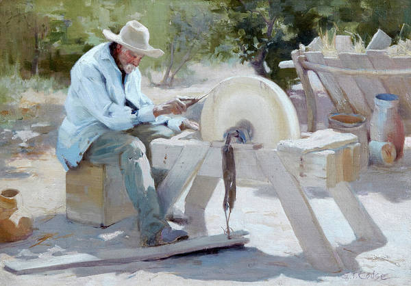 Native American Blanket Painting - The Knife Grinder by Eanger Irving Couse