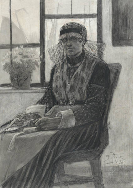 Drawing - The Lace-maker by Felicien Rops