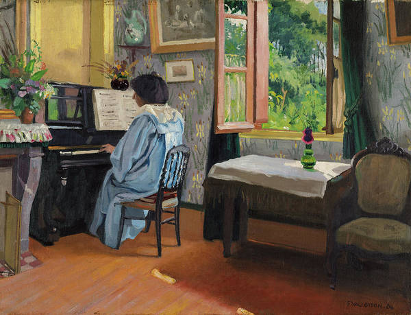 Blue Dress Painting - The Lady At The Piano, Varangeville, 1904 by Felix Vallotton
