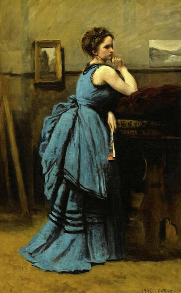 Wall Art - Painting - The Lady In Blue, 1874 by Jean-Baptiste-Camille Corot