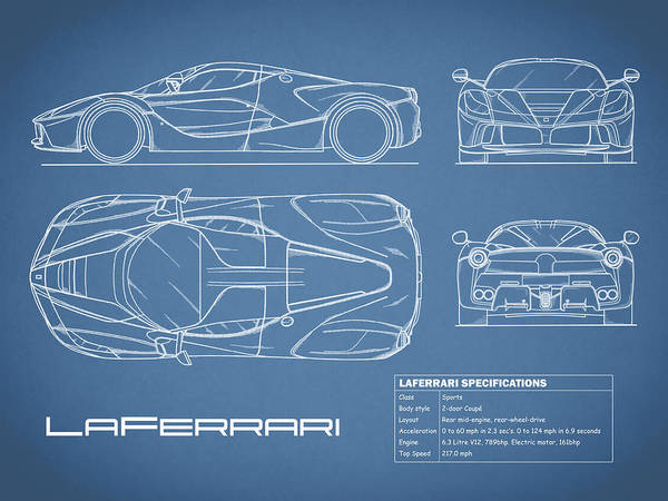 Wall Art - Photograph - The Laferrari Blueprint by Mark Rogan