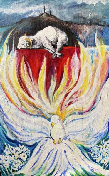 Wall Art - Painting - The Lamb Who Died For All by Kathy Hauge