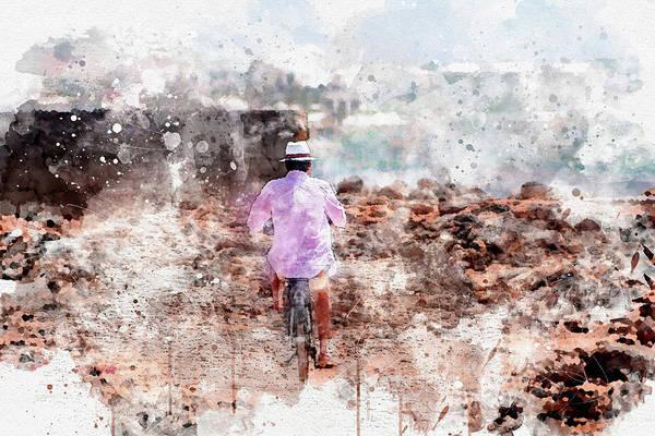 Lanzarote Digital Art - The Lanzarote Cyclist #2 by Frank Etchells