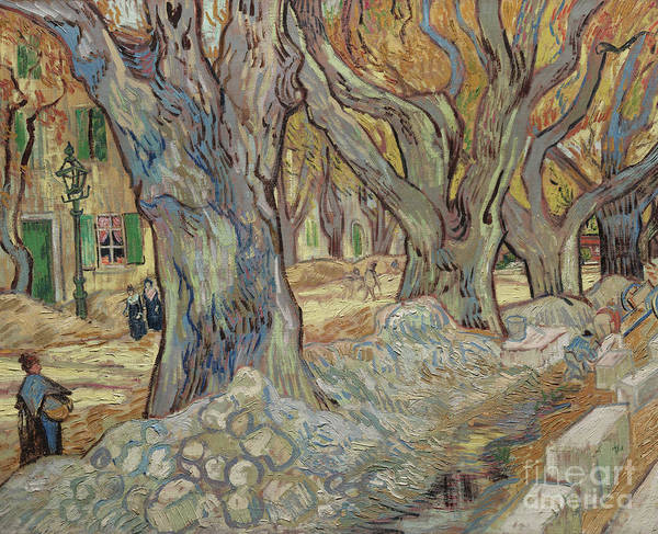 Wall Art - Painting - The Large Plane Trees, Or Road Menders At Saint Remy, 1889  by Vincent Van Gogh