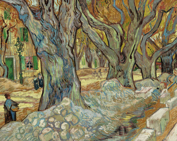 Wall Art - Painting - The Large Plane Trees, Road Menders At Saint-remy, 1889 by Vincent van Gogh