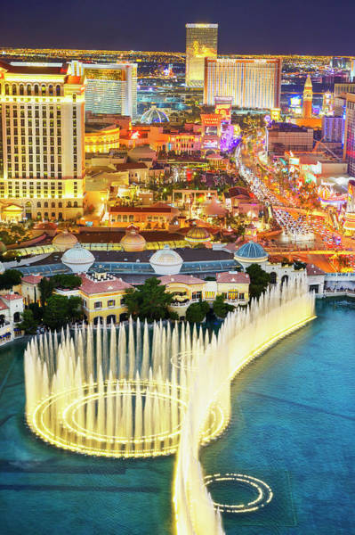 Bellagio Hotel Photograph - The Las Vegas Strip At Night by Mitchell Funk