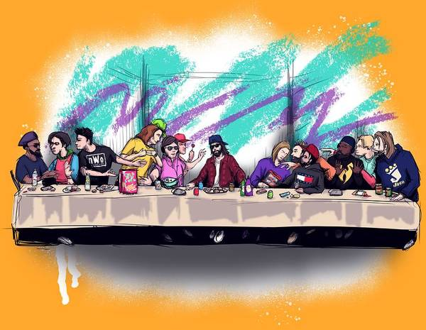 Bite Wall Art - Drawing - The Last 90s Supper by Ludwig Van Bacon