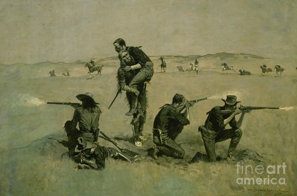 Wall Art - Painting - The Last Stand, Twenty Five To One by Frederic Remington