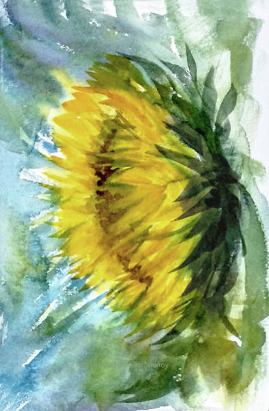 Wall Art - Painting - The Last Sunflower by Asha Sudhaker Shenoy