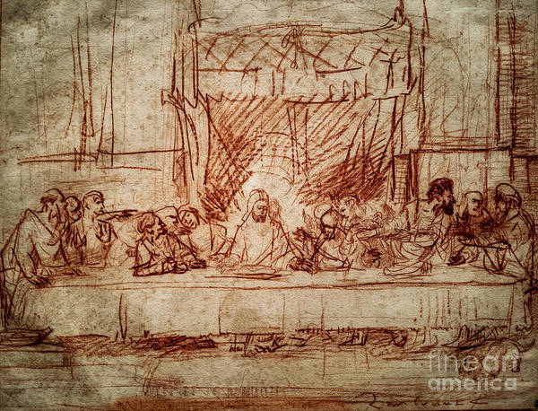 Drawing - Rembrandt The Last Supper by Rembrandt