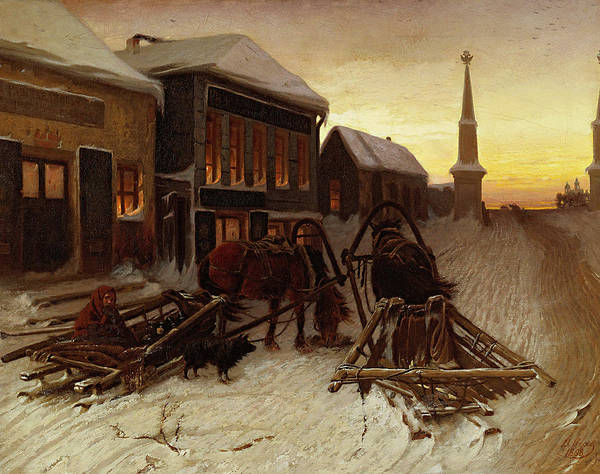 Gloomy Painting - The Last Tavern At The City Gates by Vasily Perov