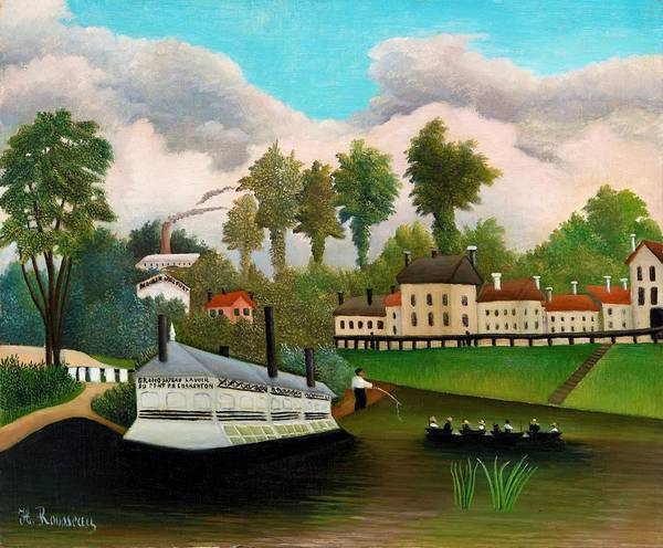 Wall Art - Painting - The Laundry Boat Of Pont De Charenton - Digital Remastered Edition by Henri Rousseau