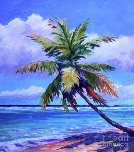 Brac Painting - The Leaning Palm by John Clark