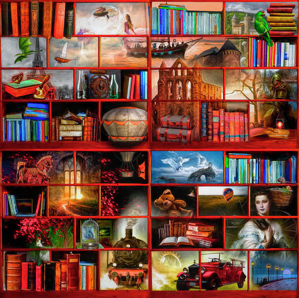 Digital Art - The Library The Fantasy And Fiction Section by Debra and Dave Vanderlaan