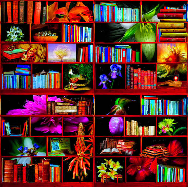 Digital Art - The Library The Flower Section by Debra and Dave Vanderlaan