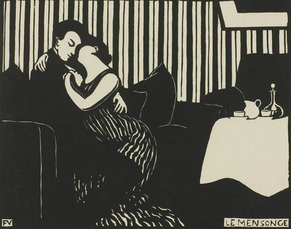 Wall Art - Relief - The Lie, Plate One From Intimacies by Felix Edouard Vallotton